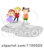 Clipart Happy Children Playing Hopscotch Royalty Free Vector Illustration by BNP Design Studio