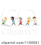 Clipart Line Of Diverse Toilet Paper Prank Boys Royalty Free Vector Illustration