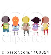 Clipart Rear View Of A Row Of Diverse School Children With Backpacks Royalty Free Vector Illustration