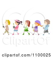 Clipart Line Of Diverse Children Carrying Seedling Plants Royalty Free Vector Illustration
