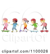 Clipart Line Of Diverse Roller Blading Scooter And Skateboarding Children Royalty Free Vector Illustration