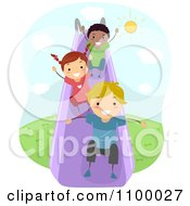 Clipart Happy Diverse Children Going Down A Slide Royalty Free Vector Illustration by BNP Design Studio