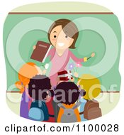 Clipart Friendly Female Teacher Being Greeting With Gifts From Students Royalty Free Vector Illustration