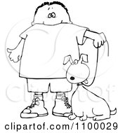 Clipart Outlined Boy Walking His Dog On A Leash Royalty Free Vector Illustration