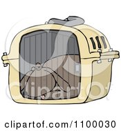 Clipart Tired Dog Drugged Up In A Pet Carrier Royalty Free Vector Illustration