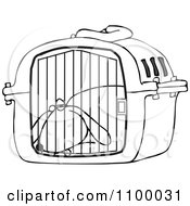 Clipart Outlined Tired Dog Drugged Up In A Pet Carrier Royalty Free Vector Illustration