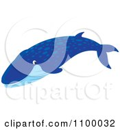 Clipart Happy Smiling Blue Whale Royalty Free Vector Illustration by Alex Bannykh