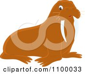 Clipart Cute Brown Walrus Royalty Free Vector Illustration by Alex Bannykh