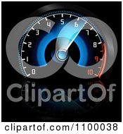 Clipart Blue And Red Illuminated Dashboard Car Speedometer Royalty Free Vector Illustration by dero