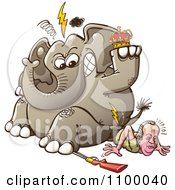 Clipart King Juan Carlos Of Spain Breaking His Hip As An Angry Hunted Elephant Sits On Him Royalty Free Vector Illustration by Zooco