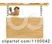 Clipart Happy Robin Perched On A Winter Sign With Snow Royalty Free Vector Illustration