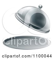 Clipart 3d Fancy Silver Cloche Fine Dining Platter With An Open Lid Royalty Free Vector Illustration