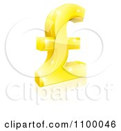 Clipart 3d Sparkly Golden Pound Sterling Lira Symbol Royalty Free Vector Illustration