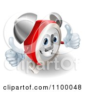 Clipart 3d Happy Alarm Clock Holding Two Thumbs Up Royalty Free Vector Illustration