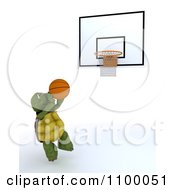 Clipart 3d Tortoise Jumping Towards A Basketball Hoop Royalty Free CGI Illustration