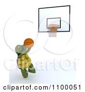 3d Tortoise Jumping Towards A Basketball Hoop