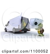 Clipart 3d Tortoises Loading A Washing Machine Into An Appliance Delivery Van Royalty Free CGI Illustration
