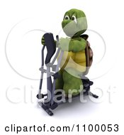 Clipart 3d Tortoise Exercising On A Cross Trainer Elliptical Machine Royalty Free CGI Illustration