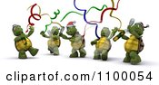 Clipart 3d Tortoises Celebrating At A Christmas Party Royalty Free CGI Illustration