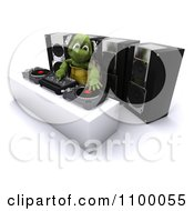 Clipart 3d Tortoise DJ Mixing Music With Speakers Royalty Free CGI Illustration