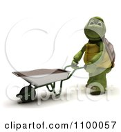 Clipart 3d Tortoise Gardener With A Wheelbarrow Of Top Soil Royalty Free CGI Illustration