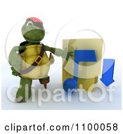 3d Illegal Music Download Tortoise Pirate With A Folder