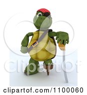 3d Tortoise Pirate With A Peg Leg Eye Patch And Sword