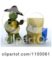 Clipart 3d Illegal Movie Download Tortoise Pirate With A Folder And Film Reels Royalty Free CGI Illustration
