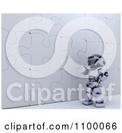 Clipart 3d Robot Pondering At A Puzzle Wall Royalty Free CGI Illustration