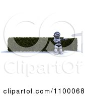 Clipart 3d Robot Pointing To A Directional Size By A Maze Entrance Royalty Free CGI Illustration