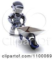 Clipart 3d Robot Pushing Top Soil In A Wheelbarrow Royalty Free CGI Illustration