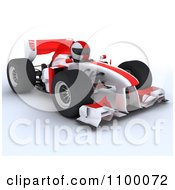 3d Race Car Driver In A White F1 With Red Stripes