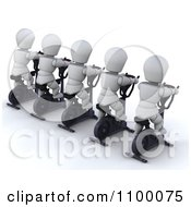Clipart Rear View Of 3d White Characters Using Cross Trainers Royalty Free CGI Illustration