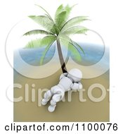 Clipart Relaxed 3d White Character Reclined And Relaxing Under A Palm Tree On A Tropical Island Royalty Free CGI Illustration