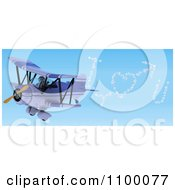 Clipart 3d Robot Flying A Red Biplane And Writing I Heart You In The Sky Royalty Free CGI Illustration by KJ Pargeter
