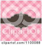 Clipart Brown Ornate Frame With Copyspace Over Pink Checkers Royalty Free Vector Illustration