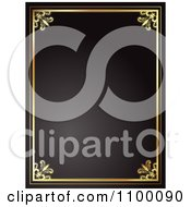 Clipart Ornate Frame Of Gold On Black Royalty Free Vector Illustration