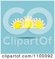 Three Suns Tucked Into Slits On A Blue Polka Dot Background