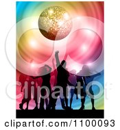Clipart Silhouetted Dancers On The Floor Under A Sparkly Disco Ball With Colorful Swirls Royalty Free Vector Illustration