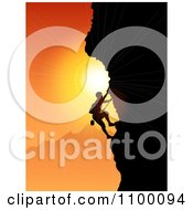 Clipart Silhouetted Rock Mountain Climber Against An Orange Sunset Royalty Free Vector Illustration