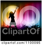 Clipart Silhouetted Female Singer On Stage With Fans Against Colorful Lights Royalty Free Vector Illustration