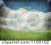 Clipart Grungy Spring Landscape Background With Clouds Royalty Free Illustration