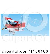 Clipart 3d White Character Flying A Red Biplane And Creating A I Love You In The Sky Royalty Free CGI Illustration by KJ Pargeter