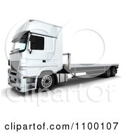 Clipart 3d White Lorry Big Rig Truck With A Flat Bed Royalty Free CGI Illustration