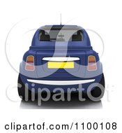 Clipart 3d Rear View Of A Blue Compact Car Royalty Free CGI Illustration