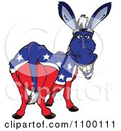 Clipart Grinning Democratic Donkey Royalty Free Vector Illustration by Dennis Holmes Designs