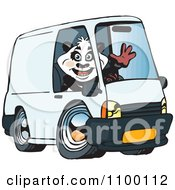 Clipart Waving Panda Driving A Delivery Van Royalty Free Vector Illustration