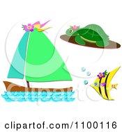 Sea Turtle Angel Fish And Sail Boat