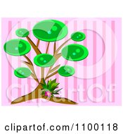 Clipart Tree And Flower Over Pink Stripes Royalty Free Vector Illustration by bpearth