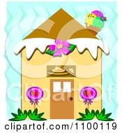 Clipart Candy House With An Ice Cream Cone Chimney Over Blue Zig Zags Royalty Free Vector Illustration by bpearth